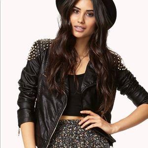 faux leather jacket w/ spiked shoulder